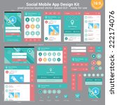 social mobile app design kit  ... | Shutterstock .eps vector #222174076