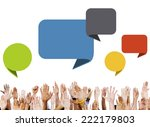 group of hands with speech... | Shutterstock . vector #222179803