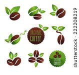 set of coffee beans label... | Shutterstock .eps vector #222208219
