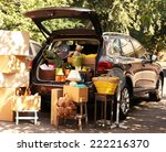 moving boxes and suitcases in... | Shutterstock . vector #222216370
