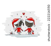 couple in love together ... | Shutterstock .eps vector #222216550