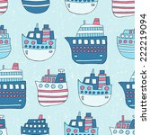 ship seamless pattern. vector... | Shutterstock .eps vector #222219094