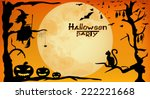 halloween party design   witch  ... | Shutterstock .eps vector #222221668