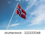 Flag Of Norway On The Blue Sky...