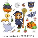 cute halloween set. isolated on ... | Shutterstock .eps vector #222247519