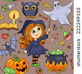 cute cartoon halloween seamless ... | Shutterstock .eps vector #222249103
