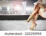 legs and modern city landscape  | Shutterstock . vector #222250903