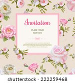 vintage invitation with flowers ... | Shutterstock .eps vector #222259468
