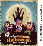 vintage halloween poster design ... | Shutterstock .eps vector #222262678