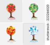 Four Seasons Tree Vector...