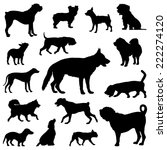 Stock vector dogs silhouettes vector set of dogs silhouette 222274120