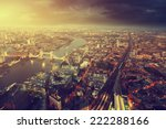 Small photo of London aerial view with Tower Bridge in sunset time