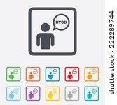 byod sign icon. bring your own... | Shutterstock . vector #222289744