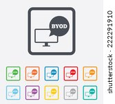 byod sign icon. bring your own... | Shutterstock . vector #222291910