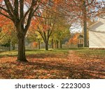 A colorful Fall view of the historic Longstreet Farm  in Holmdel  New Jersey. - stock photo