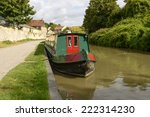 narrow boat at quay on canal ... | Shutterstock . vector #222314230