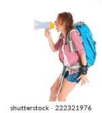 backpacker shouting by... | Shutterstock . vector #222321976