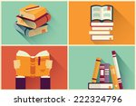 Set Of Books In Flat Design ...