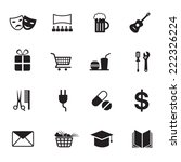 b w icons set   destination ... | Shutterstock .eps vector #222326224