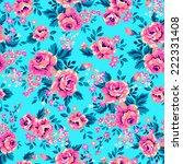 bright roses on blue   seamless ... | Shutterstock .eps vector #222331408