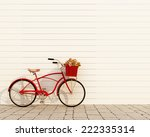 Red Retro Bicycle With Basket...