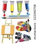 art materials icons set easel...   Shutterstock .eps vector #222340708
