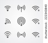 black wireless access icons... | Shutterstock .eps vector #222343840