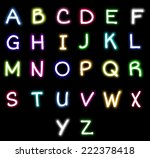 colorful neon alphabet vector | Shutterstock .eps vector #222378418