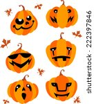 halloween pumpkin set | Shutterstock .eps vector #222397846