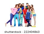 large group of cheerful young... | Shutterstock . vector #222404863