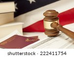 gavel and immigration documents | Shutterstock . vector #222411754
