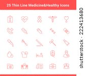 set of thin line stroke medical ... | Shutterstock .eps vector #222413680