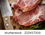 raw beef meat on wooden cutting ... | Shutterstock . vector #222417310