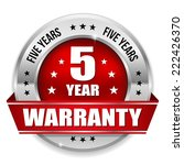 red five year warranty badge... | Shutterstock .eps vector #222426370