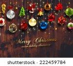 christmas balls and stars. xmas ... | Shutterstock .eps vector #222459784