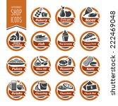 supermarket shelf icon set | Shutterstock .eps vector #222469048