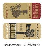 Retro Cinema Ticket  Vector...