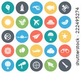 aviation round vector icons...