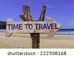 time to travel wooden sign with ... | Shutterstock . vector #222508168