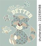 Cute Raccoon Cartoon Vector...