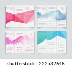 Vector collection of tri-fold brochure design templates with modern polygonal background on white | Shutterstock vector #222532648