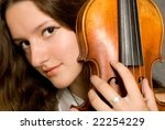 girl with violin close up portrait - stock photo
