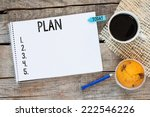 notebook with an action plan... | Shutterstock . vector #222546226