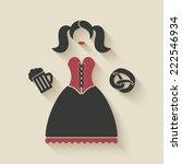 oktoberfest girl with beer mug...   Shutterstock . vector #222546934