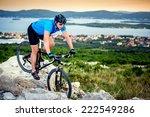 mountain biker riding on croatia | Shutterstock . vector #222549286