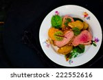 fried duck breast with slices... | Shutterstock . vector #222552616