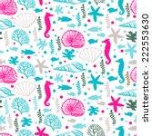 decorative sea pattern.  vector ... | Shutterstock .eps vector #222553630