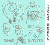 set of winter hand knitted... | Shutterstock .eps vector #222560110