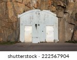 Small photo of Entrance to an air-raid shelter in Sweden