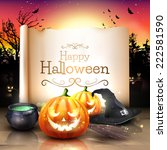 modern halloween greeting card... | Shutterstock .eps vector #222581590